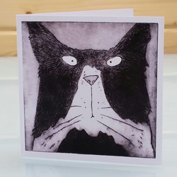 Tom Cat Card - Blank Inside Cat Greeting Card, Cat Birthday Card, Funny Cat Card