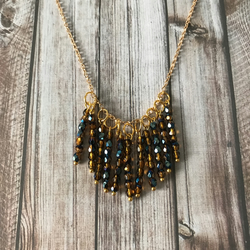 Gold Amber & Blue Pendant Necklace