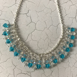 Aqua Blue Swarovski Element Heart Beaded Necklace