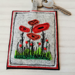 Poppy flower free motion embroidery keyring