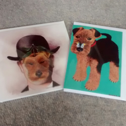 Welsh Terrier with butterfly card and Magritte Terrier, two dog cards