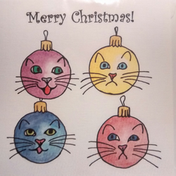 Cute cats Christmas card with bauble cats!