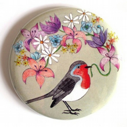 Flower Robin Pocket Mirror