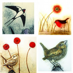 Greeting cards. Set of four tweeters...
