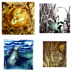 Set of four woodland creatures greetings cards.