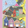 Tea Towel with Beach Huts  - Cotton dish towel - Household linen