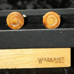 Turned thuya wood cufflinks
