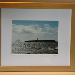 Framed photo of Pladda Lighthouse with Ailsa Craig in background (Pine)
