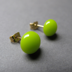 lime fused glass earrings