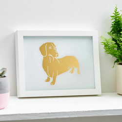 Gold leaf dachshund dog