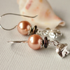 Bronze Pearl Earrings With Elephant Charm - Sterling Silver