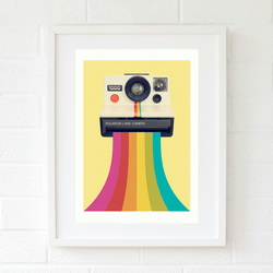 Rainbow art gift for best friend - Retro gift for her - Yellow wall art giclee