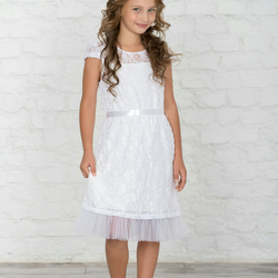 Made To Measure First Communion dress, White Holy Communion lace dress