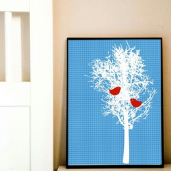 Winter Tree with patterned blue background