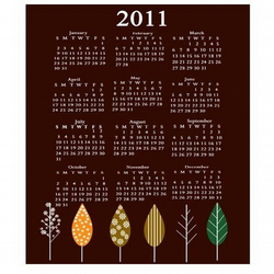 Printable Trees Calendar 2011 - Can be used as business calendars also.