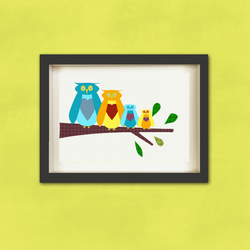Owl's Family Of Four nursery prints