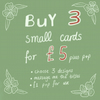 Small Card Pack, 3 blank greetings cards