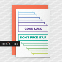 Funny Good Luck Card - Don't F-ck It Up - Funny Greeting Cards - Offensive
