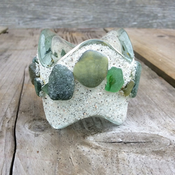 Sea glass Tea Light Holder, with Silver Sand