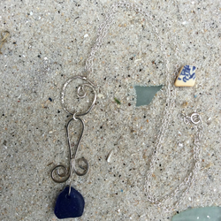 Mermaid's Tear Sea Glass Necklace, Sterling Silver Wave Bail and Trace Chain