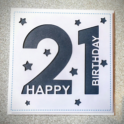 Hand Made Paper Cut Birthday Card with Age