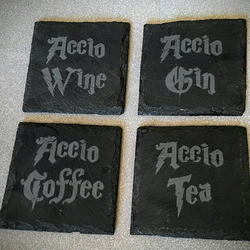 "Slate Harry Potter Coasters ""Accio"" (Pack of 4)"