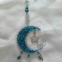 FAIRY CRYSTAL MOON & STAR Beaded Window  Decoration