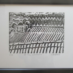 At The Chateau. Limited edition linocut print
