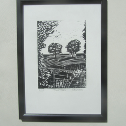 Two Trees. Limited edition linocut print