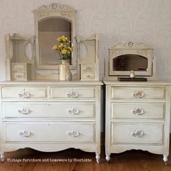 Vintage 1940s pair of chests of drawers with mirrors hand painted shabby chic