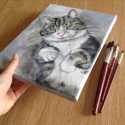 1 pet portrait MEDIUM canvas painted from your photo. Dog, cat, rabbit, birds
