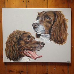 2 pets portrait LARGE canvas from photo. Dog, cat, rabbit, birds etc