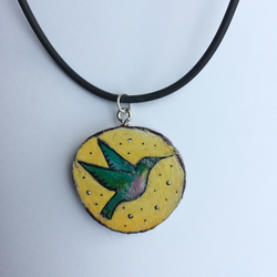 Humming bird Hand painted wooden pendant