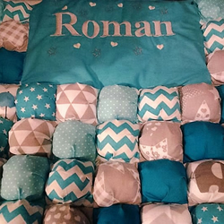 Puffball Cot quilt, personalised with name of baby or child
