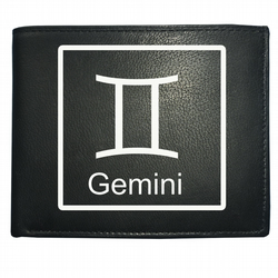 GEMINI 'THE TWINS' horoscope Air sign -  Men's Leather Wallet WBF2099