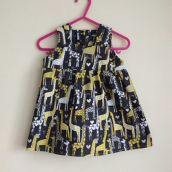 Giraffe Love fabric, pinafore dress age 12-18 months