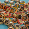 15mm Wooden Cat Buttons Random Mix 10pk Pussy Kitten Kitty (SCT1)