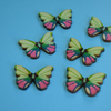 Wooden Butterfly Buttons Pink Green Blue 6pk 28x20mm (B7)