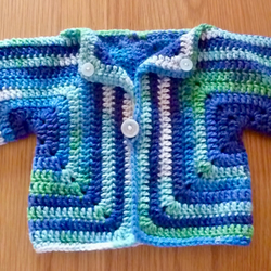 'Shades of the Sea' hand crocheted kimono style cardi 3-6 months