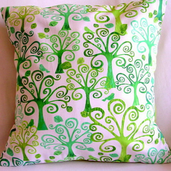 Swirly Trees and Green Retro Cushion Cover 16 x 16 inch