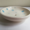 Handmade ceramic soap dish in off white with blue bubbles hand thrown pottery