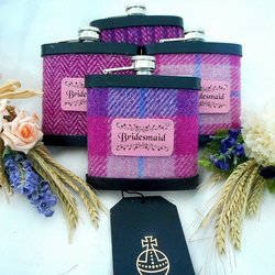 Set of Four Bridesmaids Harris Tweed Hip Flasks for Wedding gift or Hen Party