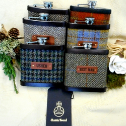 Set of six  luxurious Rustic Woodland or Barn Wedding Harris Tweed Hip Flasks