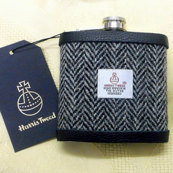 Grey and Black herringbone Harris Tweed hip flask  gift for men Best Man