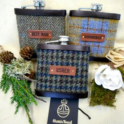 Set of Three Rustic or Woodland Wedding Themed Harris Tweed Hip Flasks Best Man