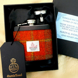 Father of the Bride Wedding personalised gift choice of Harris Tweeds Hip Flask