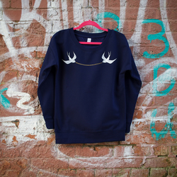 Swallow & Chain Hand Printed Navy Sweatshirt