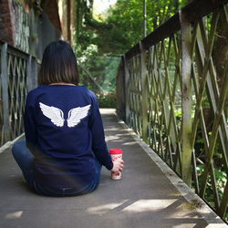 Angel Wings Hand Printed Navy Sweatshirt