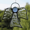 Stained glass suncatcher (Angel) abstract in two different textured glass
