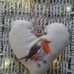 Fabric  Christmas Robin hanging heart decoration